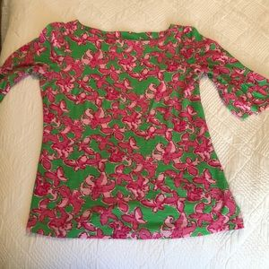 Lilly Pulitzer Pink & Green Butterfly Long Sleeves